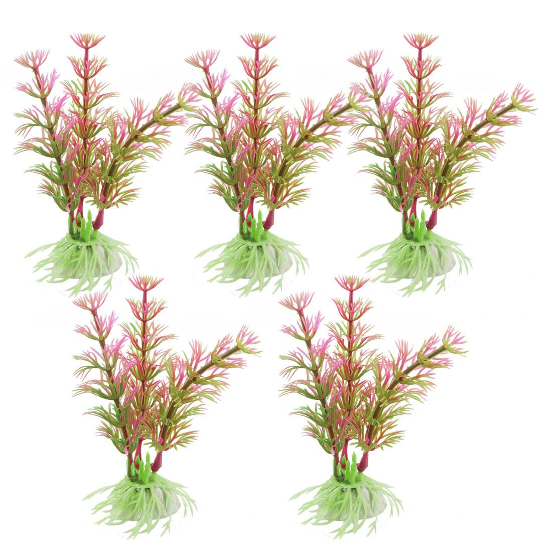 """4.3"""" 5 Pcs Green Fuchsia Plastic Plants Grass Ornament for Fish Tank"""