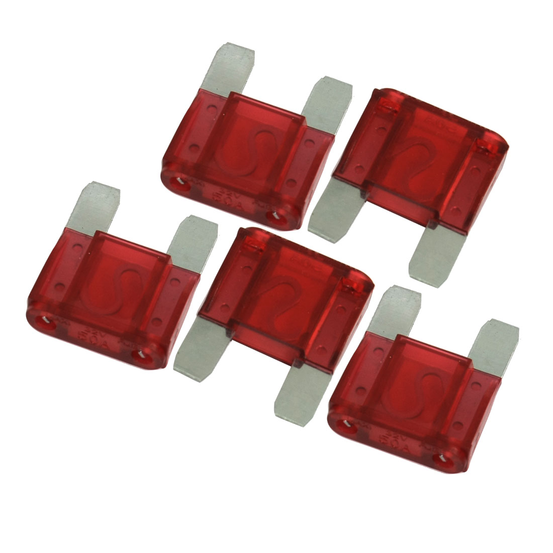 50A Car Truck Automotive Fast Acting Blade Fuse Red 5 Pcs