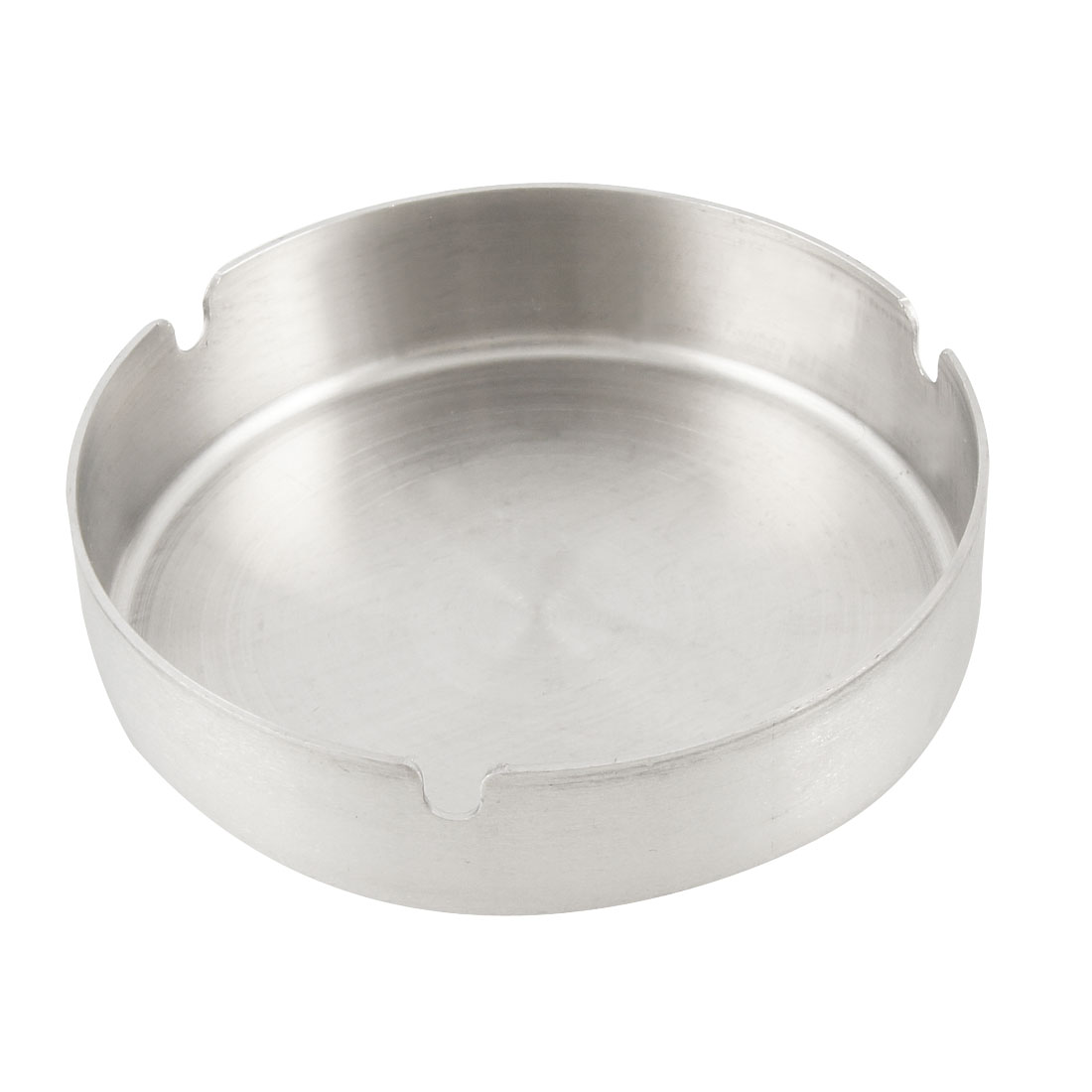 Home Silver Tone 12cm Dia Stainless Steel Round Cigarette Ashtray
