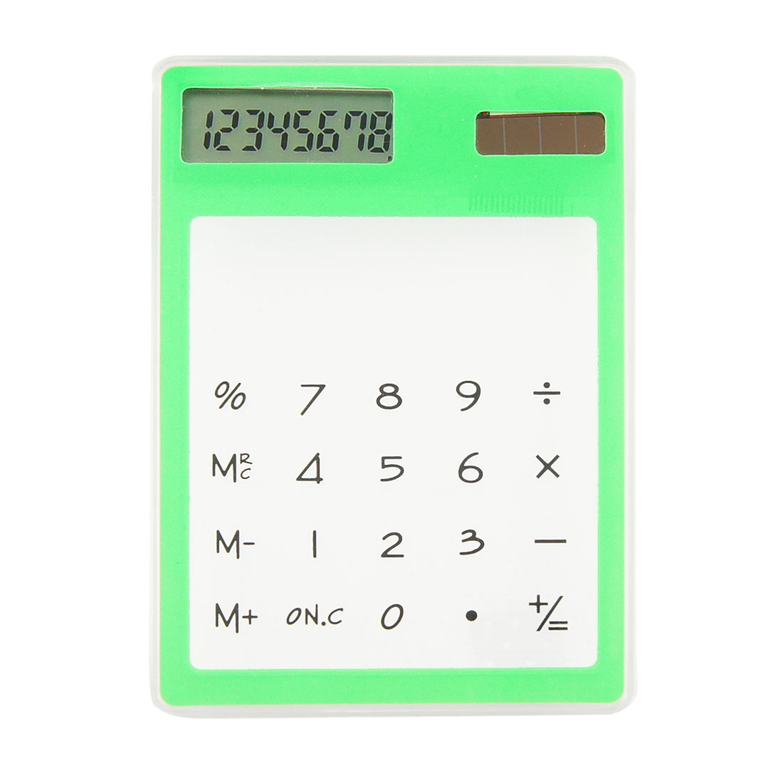 Green Clear Solar Powered 8 Digital Display Plastic Calculator