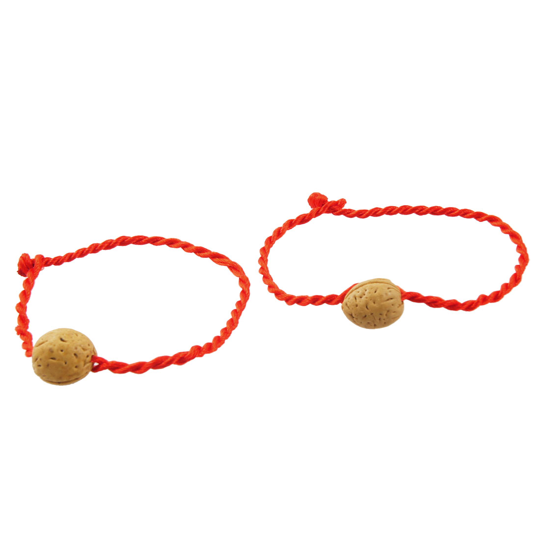 2 Pcs Peach Pit Bead Decor Red Twisted String Bangles Bracelets