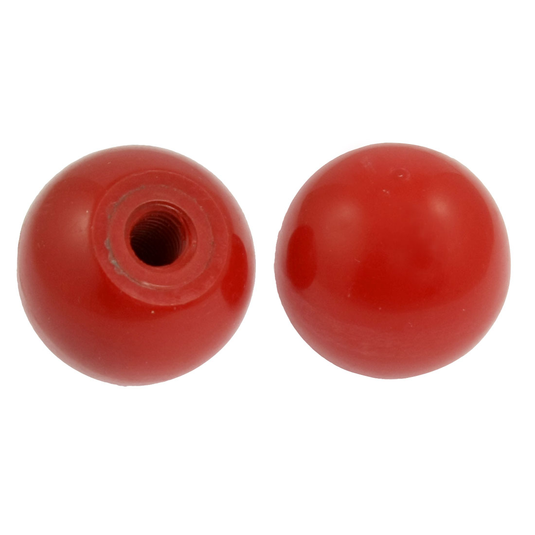 "11/32"" Thread Hole 1 17/32"" Diameter Red Hard Plastic Ball Knob 2 Pcs"