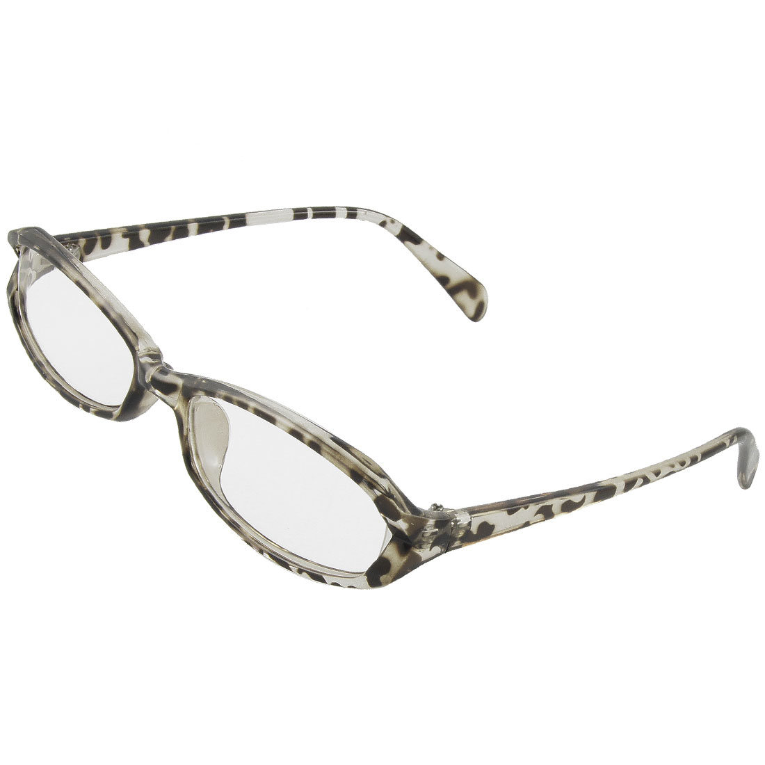 Women Black Clear Leopard Pattern Full Rim Multi Coated Lens Plain Glasses