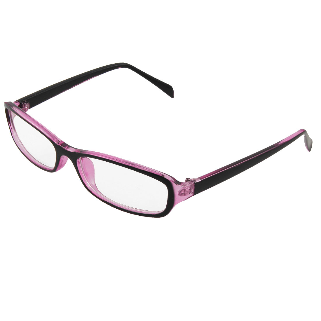 Lady Black Clear Purple Plastic Arms Multi Coated Lens Plain Glasses
