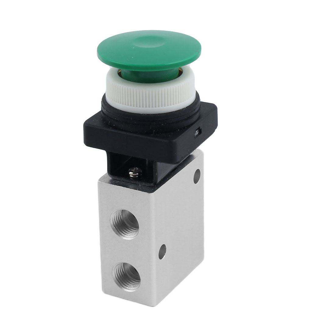 JM-322PB 13mm Thread 2 Position 3 Way Green Mushroom Button Air Mechanical Valve