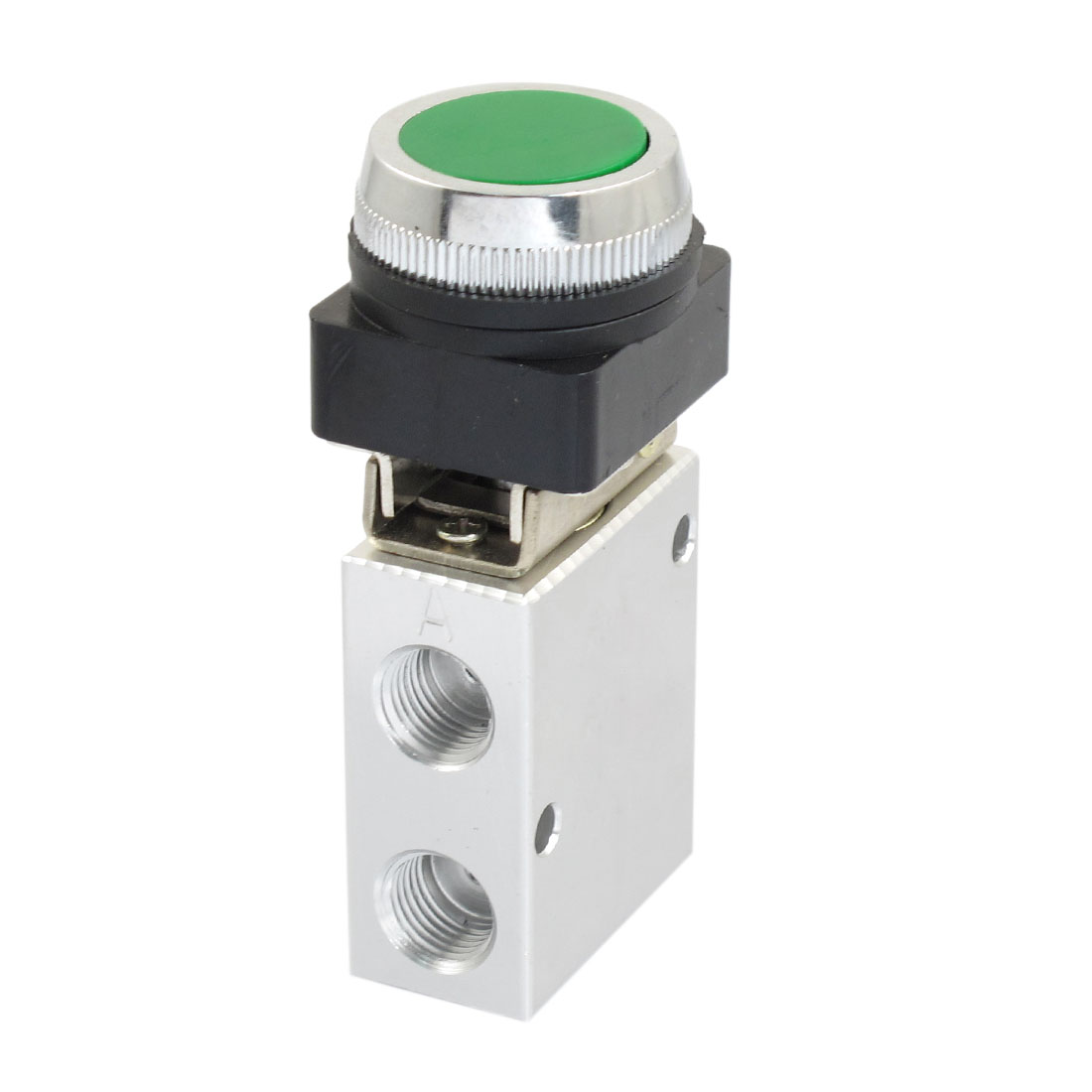 JM-322PP 13mm Thread 3/2 Way Green Flat Push Button Pneumatic Mechanical Valve