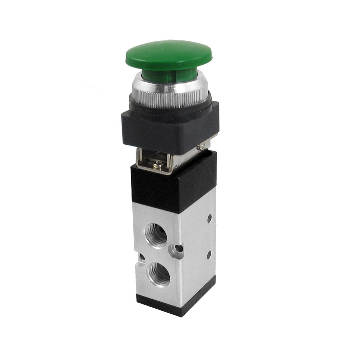 MV522PB 12mm Thread Input 2/5 Way Green Mushroom Button Air Mechanical Valve