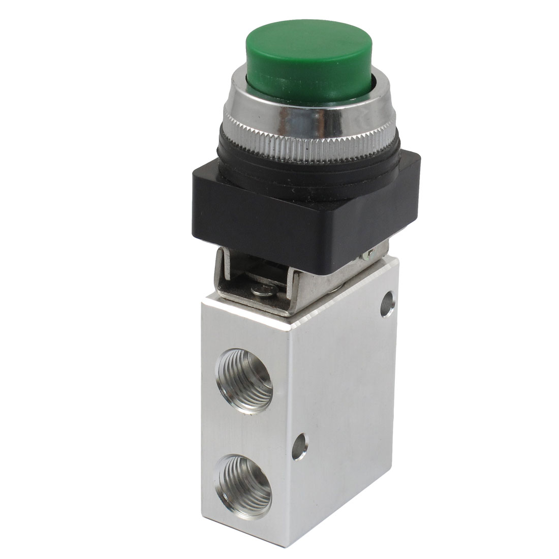 JM-322PPL 13mm Thread 2 Position 3 Way Green Push Button Air Mechanical Valve