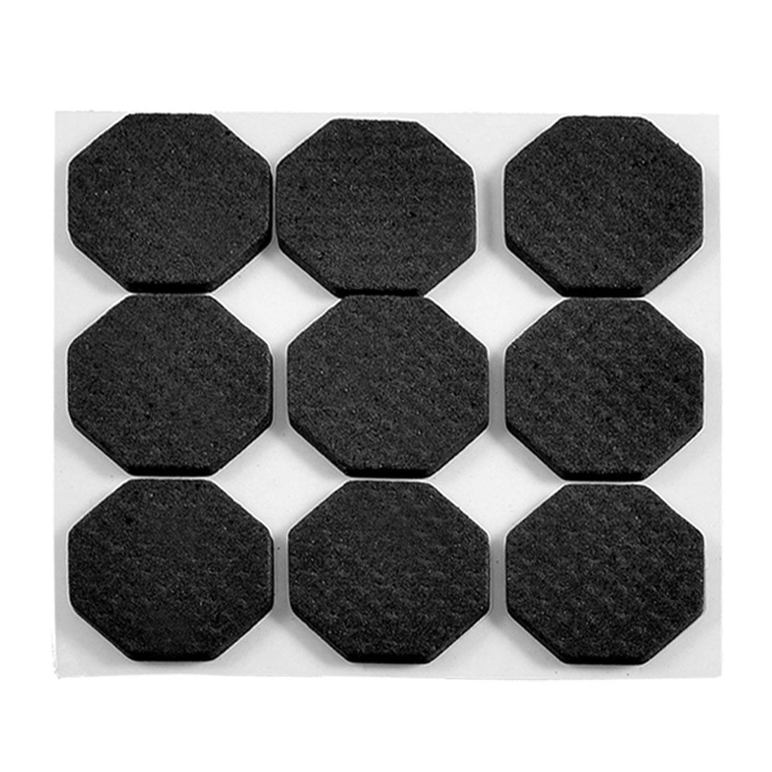 Self-adhesive Hexagon Black Furniture Protection Cushion Pads Mat 9 Pcs