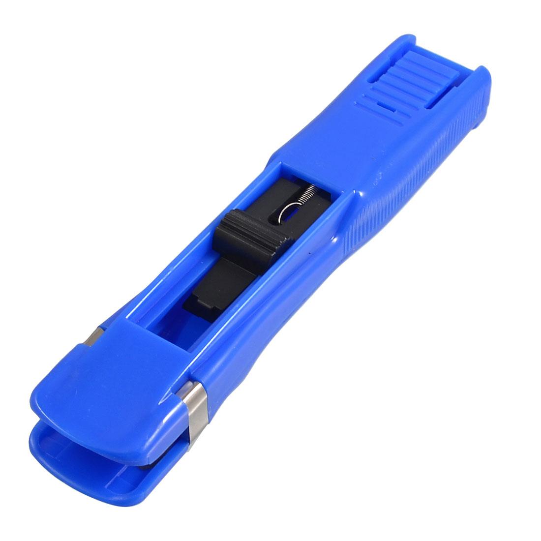 Blue Plastic Handheld Student Stationery Paper Fast Clam Clip Stapler Dispenser