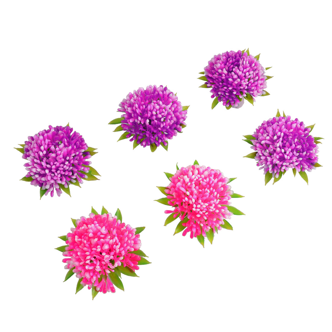 6 Pcs Emulational Fuchsia Pink Plastic Plant Aquarium Decor Ornament 2.2""