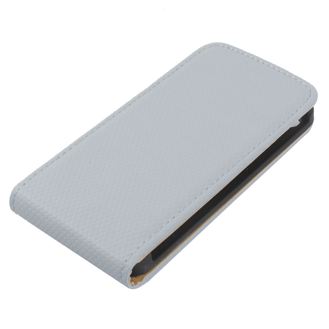 Grey Snake Print Faux Leather Magnetic Button Closure Cover Case for iPhone 4 4S