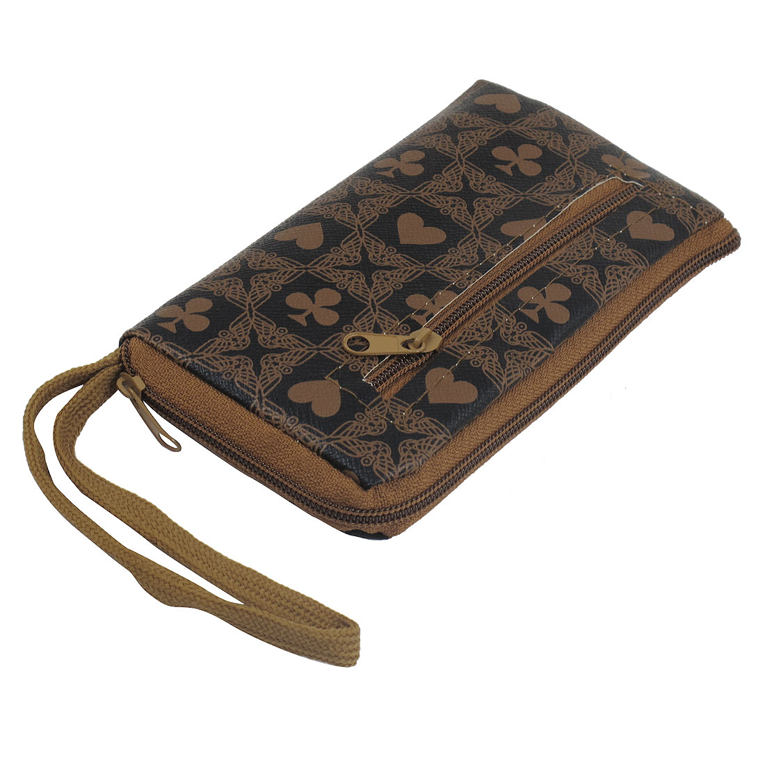 Brown Faux Leather Poker Pattern Hand Strap L-Shape Zippered Pouch Handbag