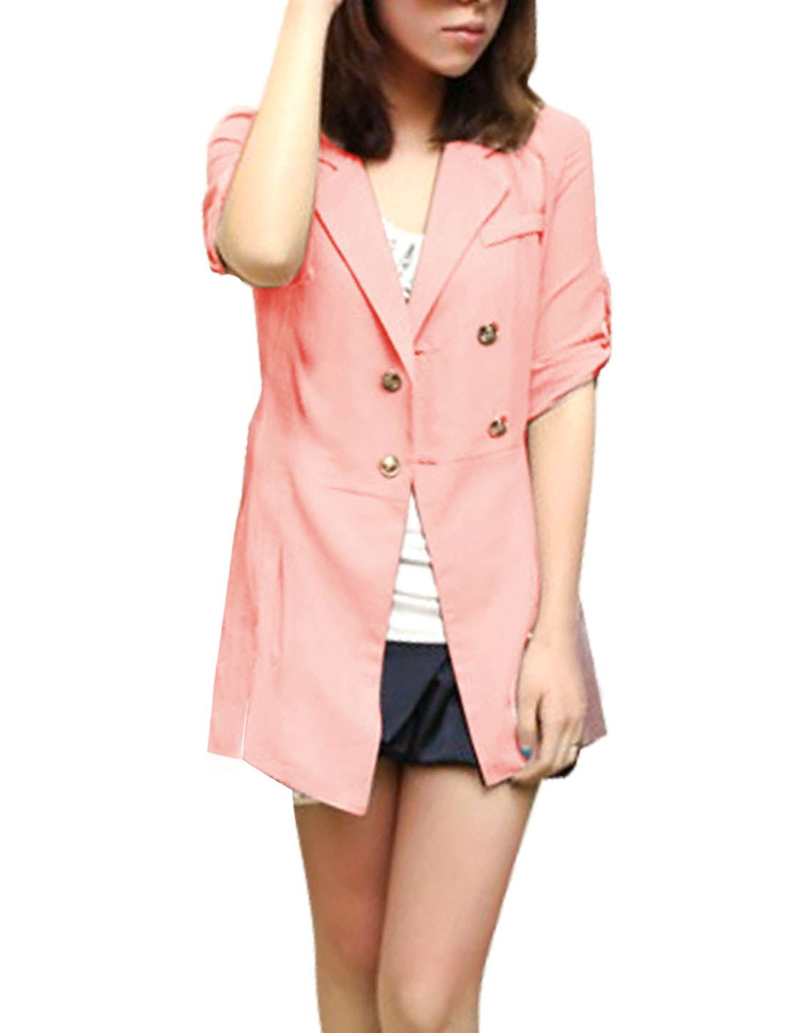 Button Closure Peaked Lapel Collar Pink Trench Shirt M for Lady