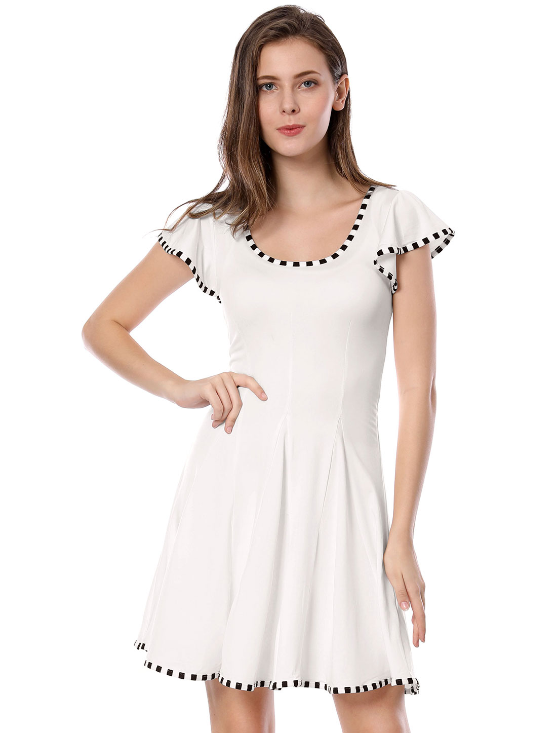 Size M Striped Detail Scoop Neck Cap Sleeve Dress White for Women