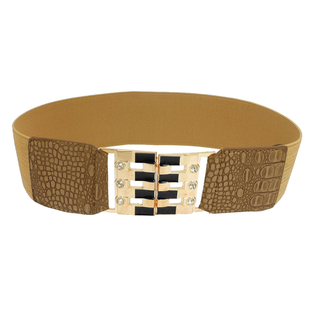 Lady Rhinestones Inlaid Snake Pattern Faux Leather Elastic Cinch Band Waist Belt Brown