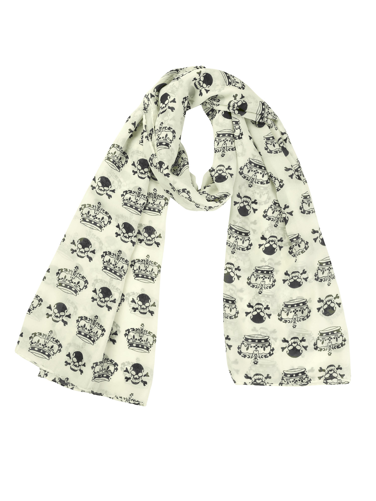 Woman Off White Crown Skull Prints Long Wrap Chiffon Scarf Shawl