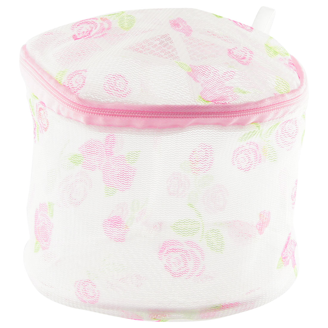 Rose Print Zipper Mesh Nylon Laundry Underwear Washing Bag