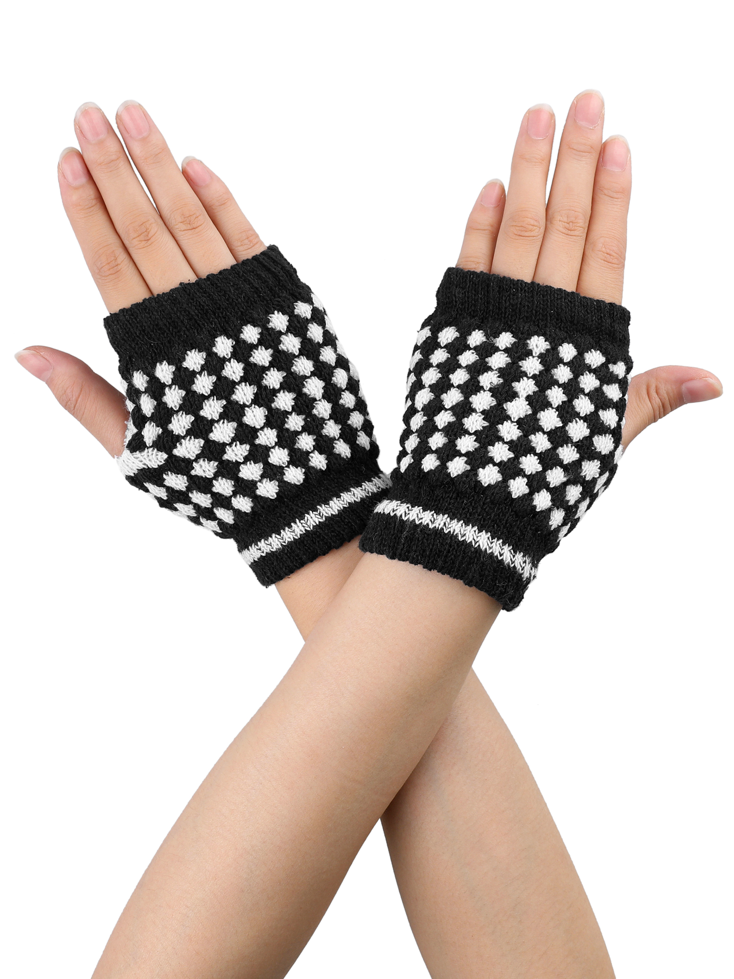 Women Black White Stretchy Thumb Hole Knit Fingerless Gloves Pair