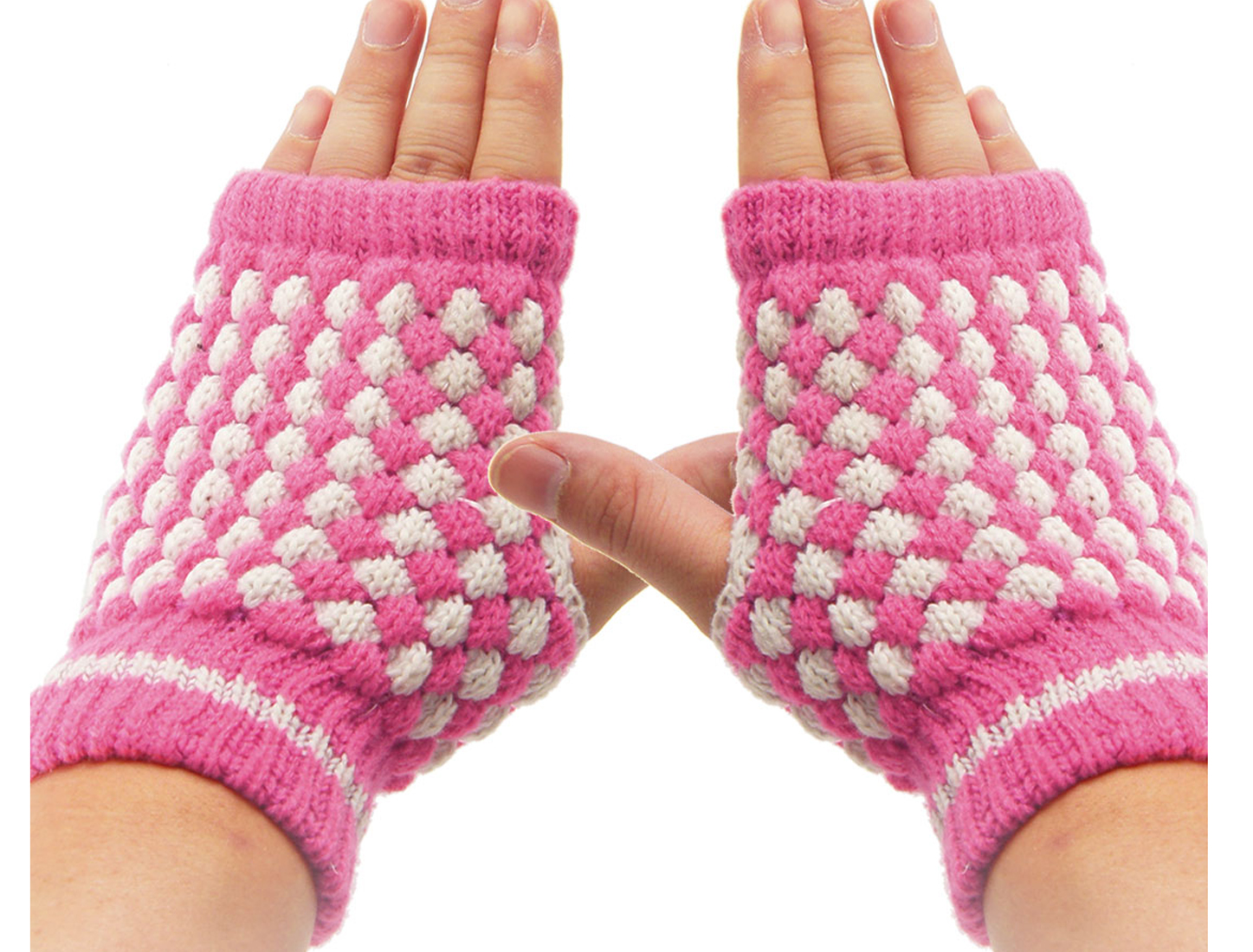 Fuchsia White Stretchy Thumb Hole Fingerless Gloves for Lady