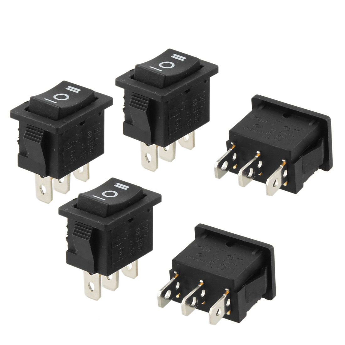 5 Pcs AC 250V/6A 125V/10A 3 Pin SPDT Snap in on/off/on Rocker Switch