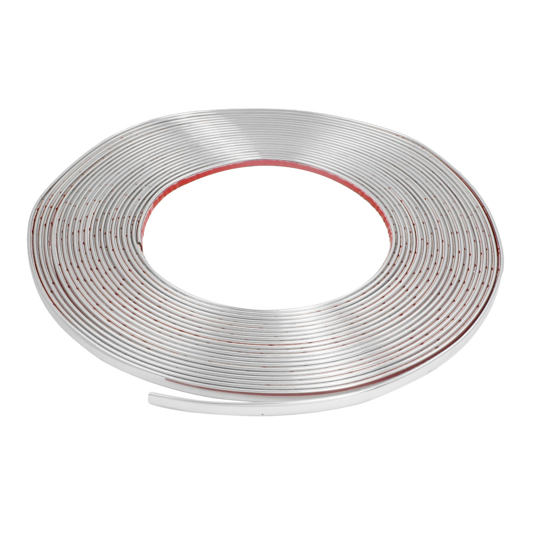 Car Window Silver Tone Soft PVC Adhesive Back Moulding Trim Strip Line 15M x 8mm