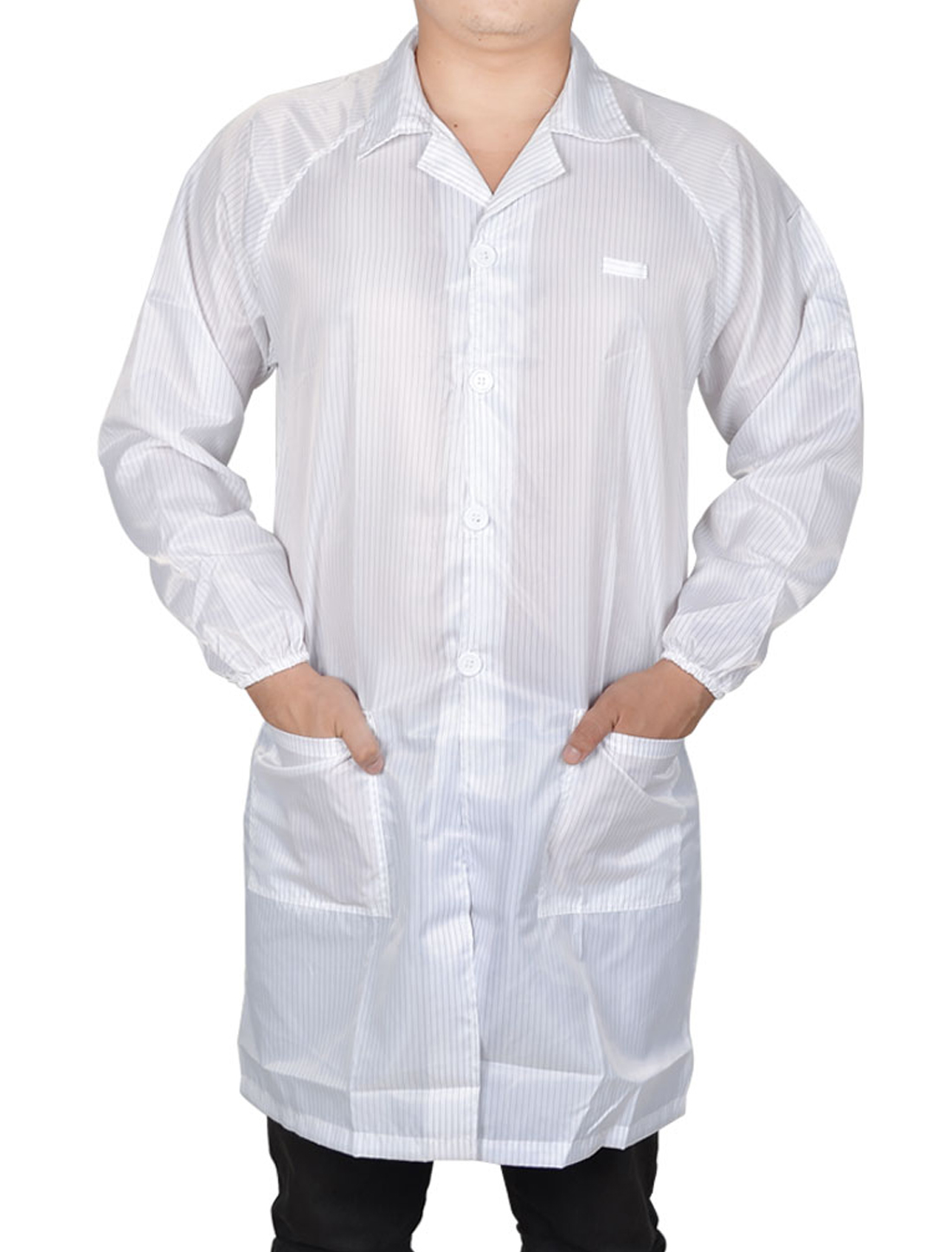 Unisex Striped Button Closure Anti Static Overall Gown Garment White M