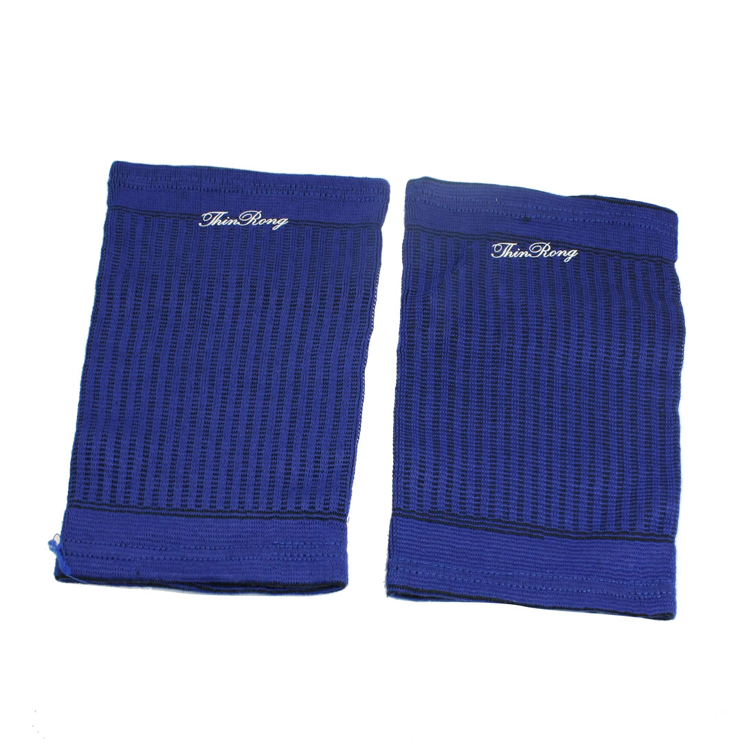 Blue Black Striped Knitted Protective Sports Bandage Brace Thigh Support Pair