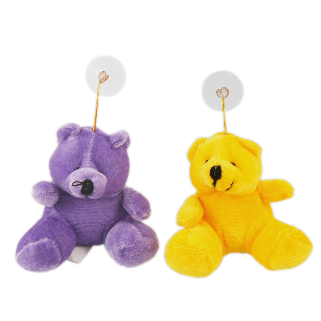 2 x Automobile Car Purple Yellow Bear Lovers Pendant Hanging Ornament