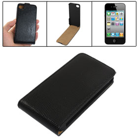 Black Snake Print Faux Leather Magnetic Button Closure Cover Case for iPhone 4 4S