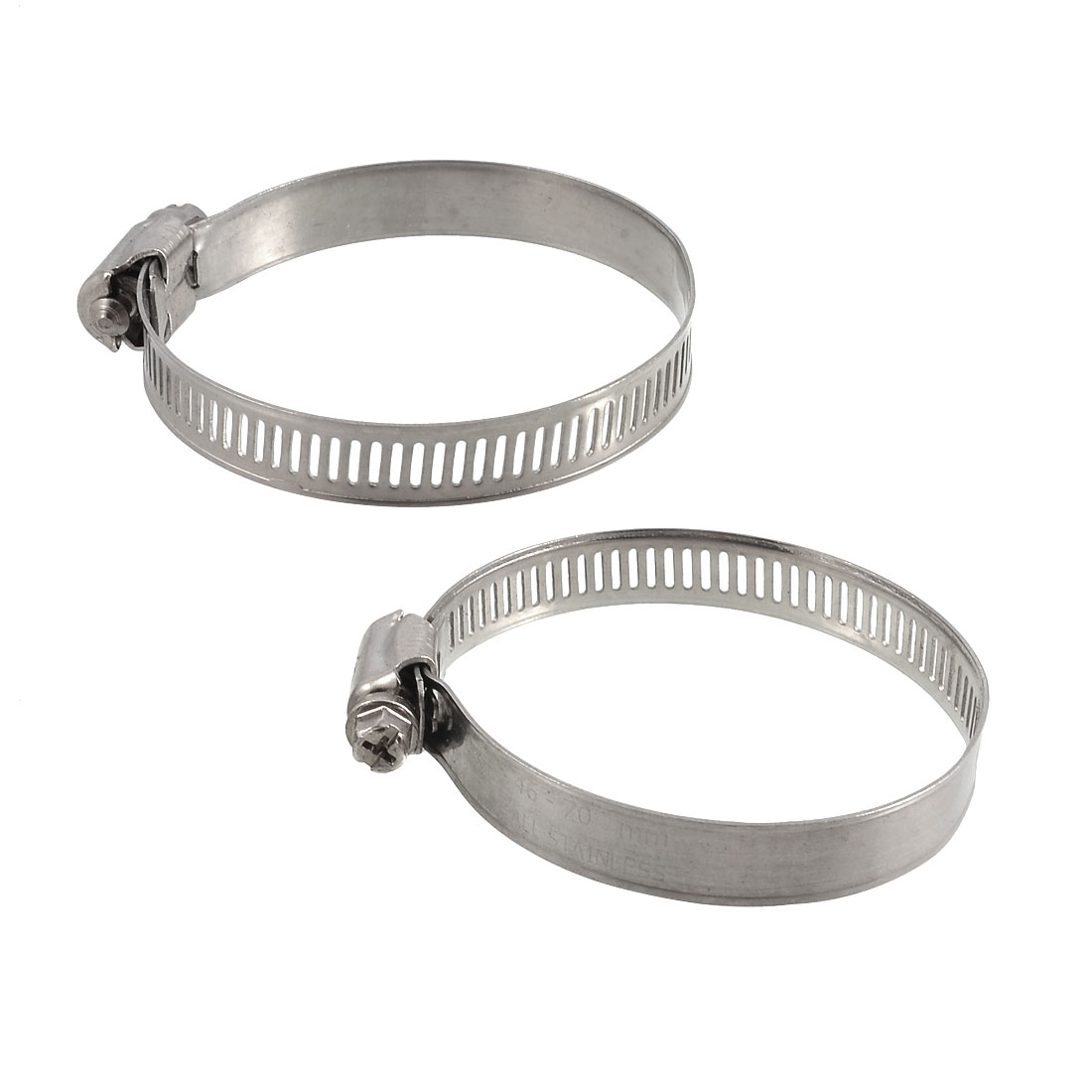 2 Pcs 46mm-70mm Adjustable Stainless Steel Worm Drive Hose Clamps