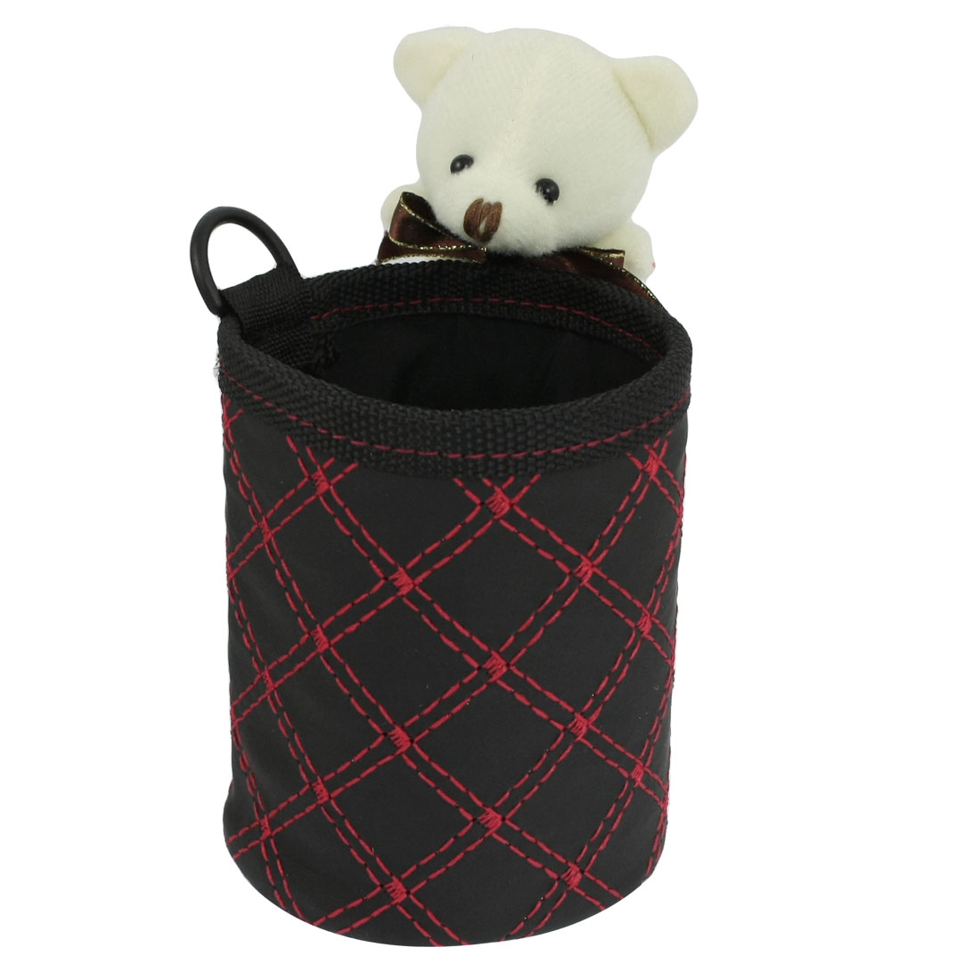 Beige Cartoon Mouse Detail Black Red Cylinder Storage Bag Holder for Car