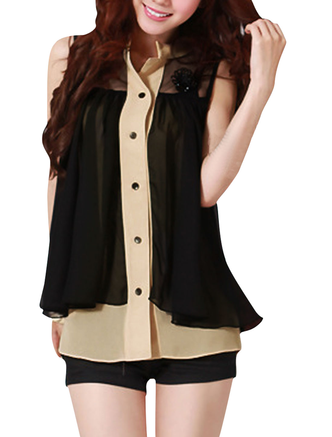 Ladies Black Beige Single Breasted Sleeveless Chiffon Color Panel Shirt XS