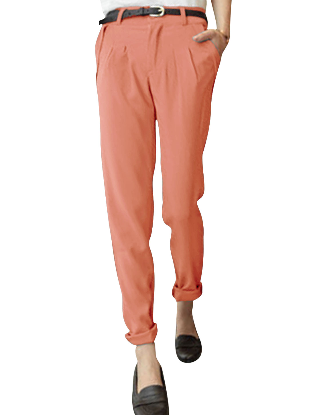 Ladies Low Rise Front Pockets Zip Fly Straight Trousers Pink S