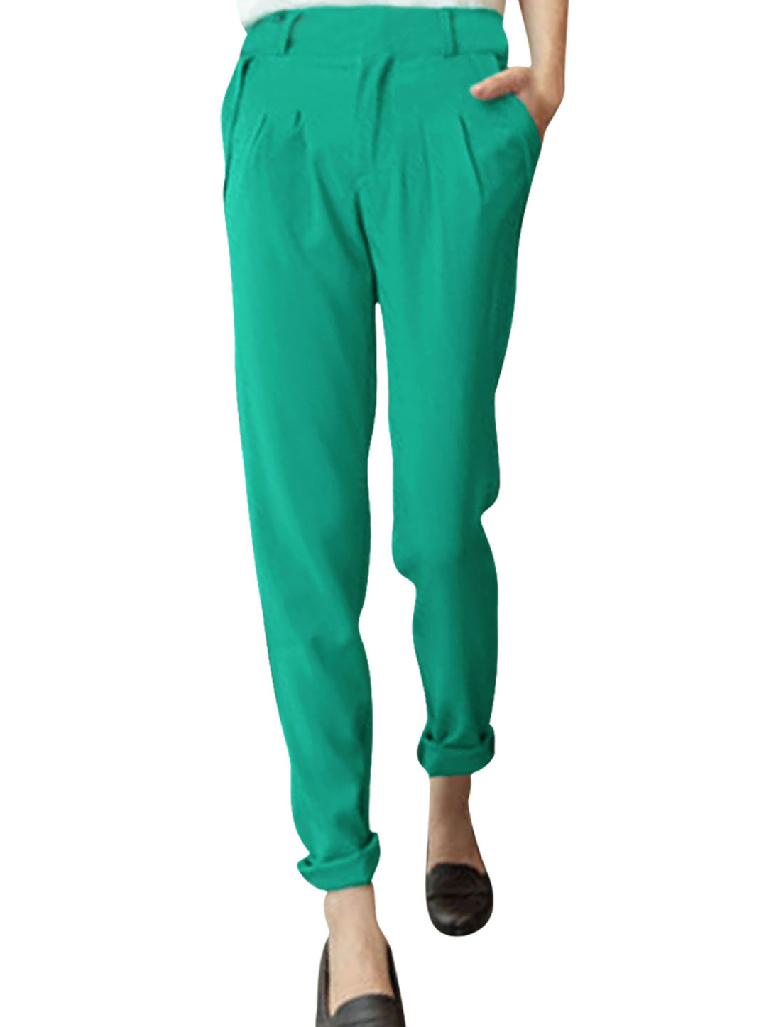 Ladies Low Rise Front Pockets Zip Fly Pleated Trousers Green XS