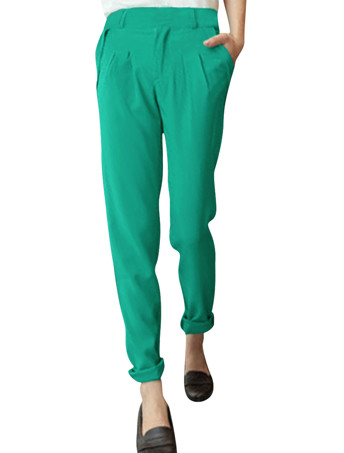 Ladies Low Rise Front Pockets Zip Fly Straight Trousers Green S