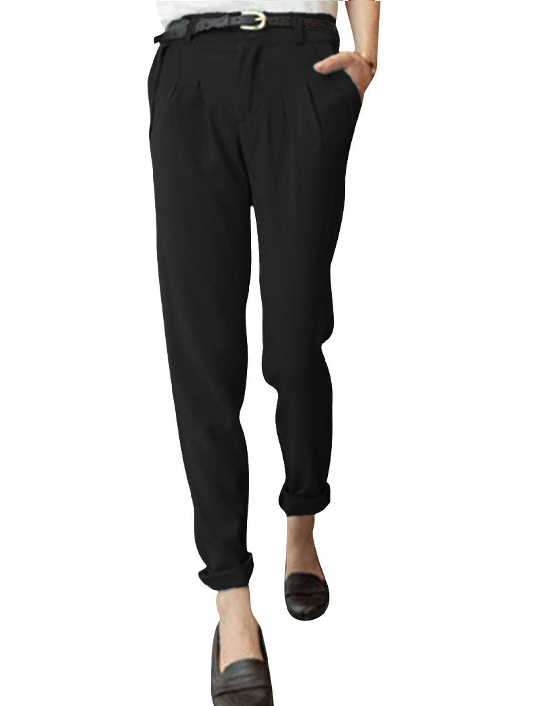 Ladies Low Rise Front Pockets Zip Fly Straight Trousers Black XS