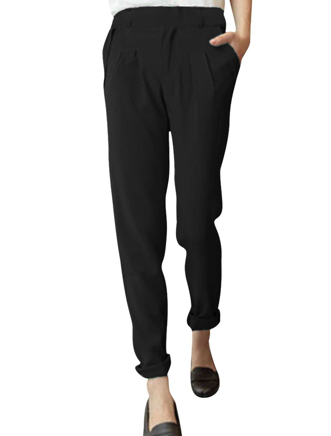 Ladies Low Rise Front Pockets Zip Fly Straight Trousers Black S