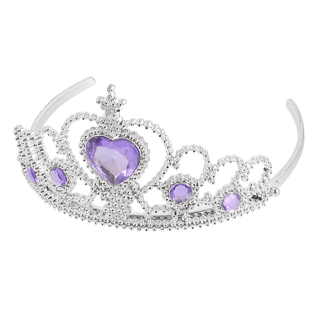 Woman Wedding Faux Rhinestone Tiara Crown Headband Silver Tone Purple