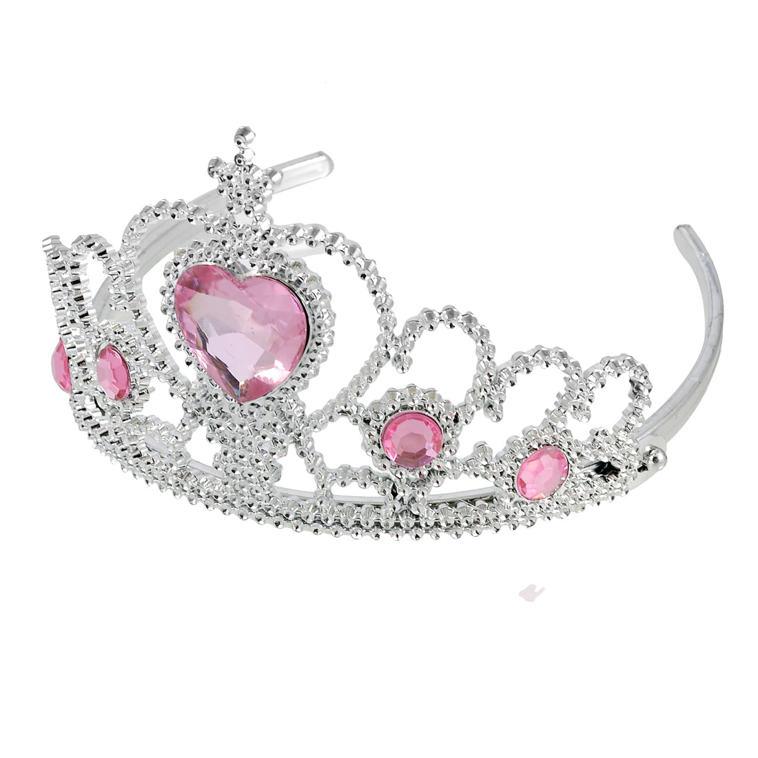 Wedding Bridal Plastic Heart Shaped Faux Rhinestone Inlaid Crown Headband Pink
