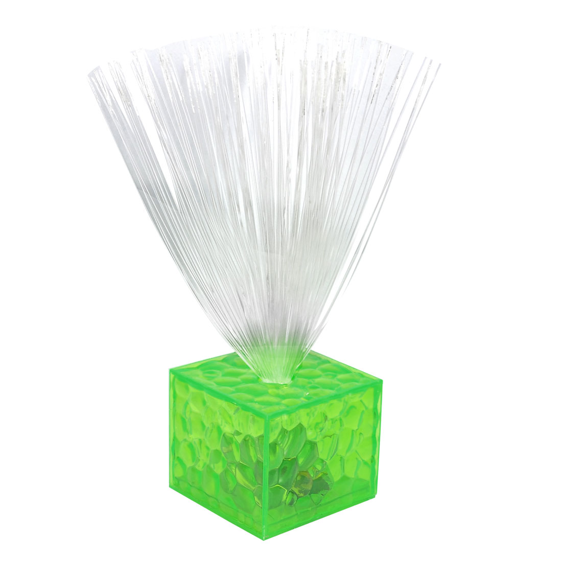 Xmas Green Cube Design 6 Colors Flash Light Optic Fiber Night Lamp Decor