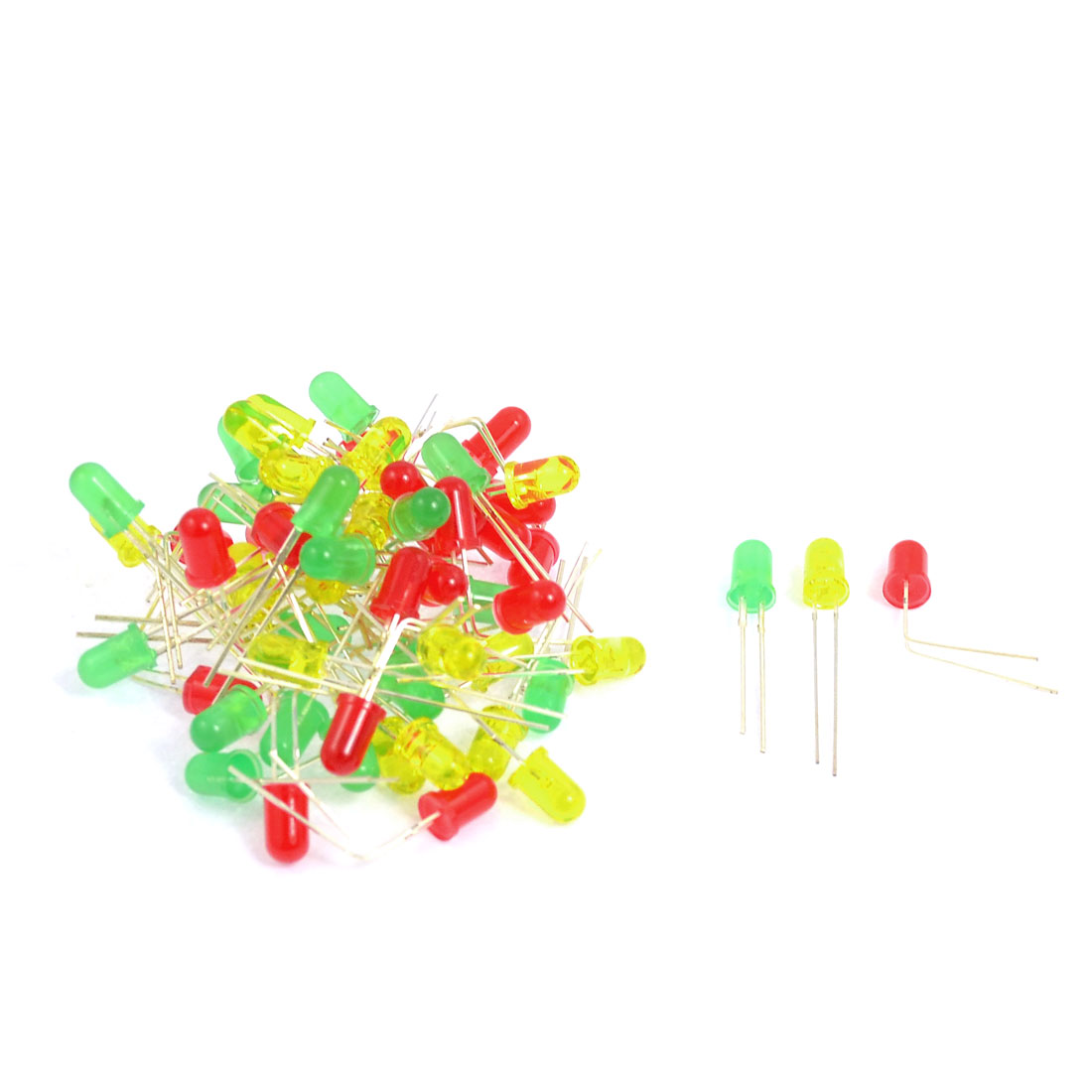 60 Pcs 3mm Dia Round Assorted Colors LED Light Emitting Diodes Lamp DC 3V