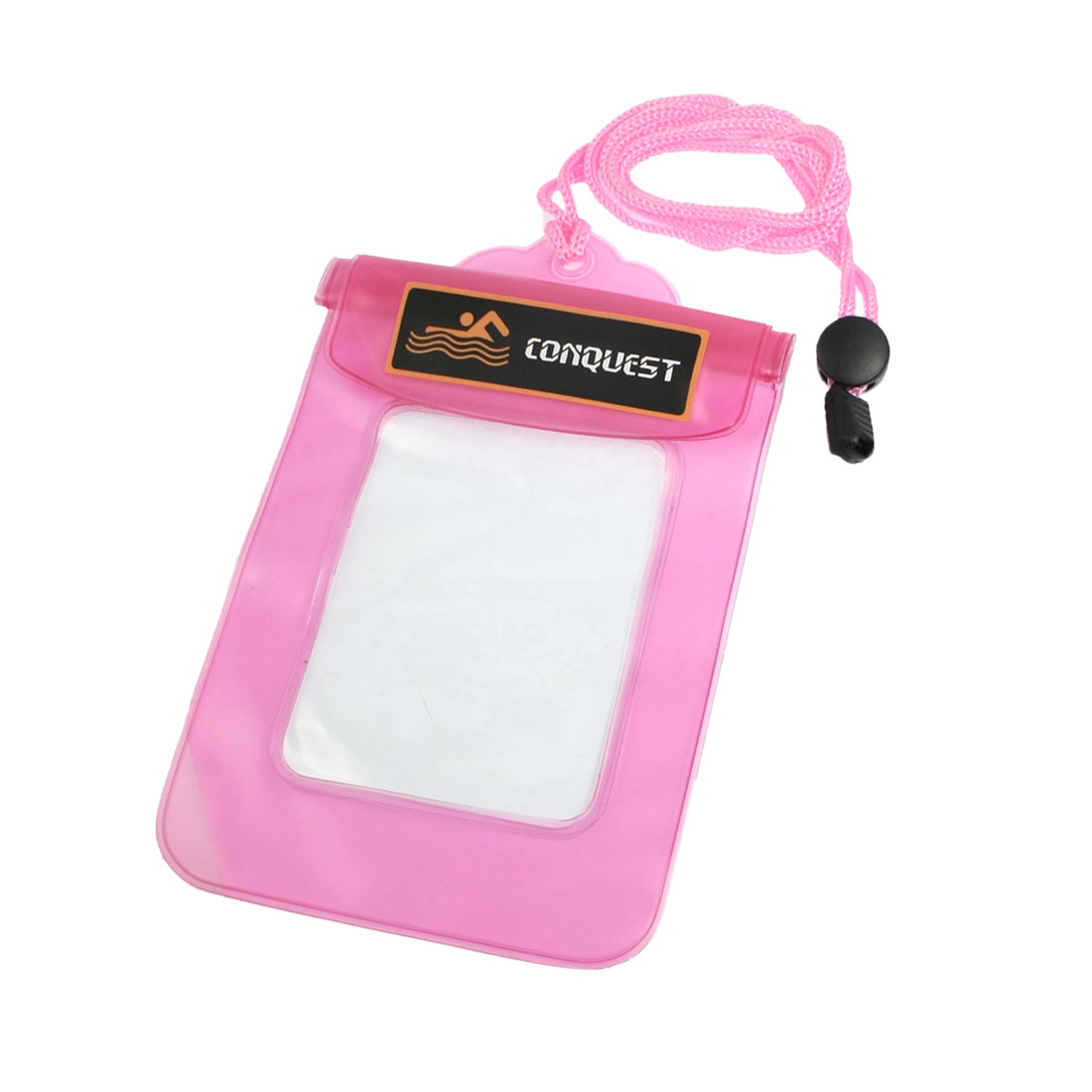 Adjustable Neck Strap Pink Clear Plastic Water Resistant Self Seal Bag