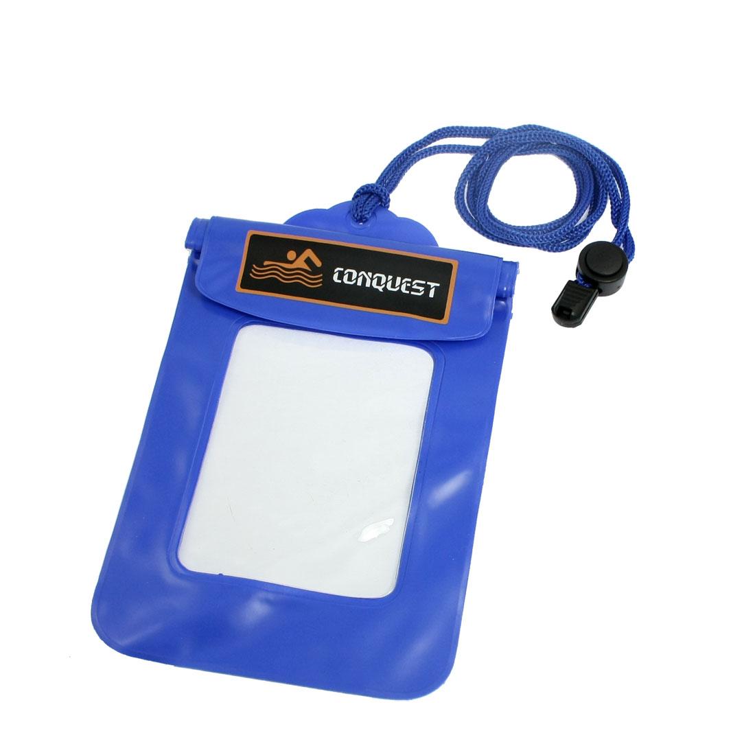 Adjustable Neck Strap Blue Clear Plastic Water Resistant Bag Pouch