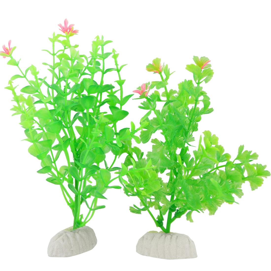 """2 Pcs 6.7"""" Length Artificial Plant Green Ornament for Aquarium"""