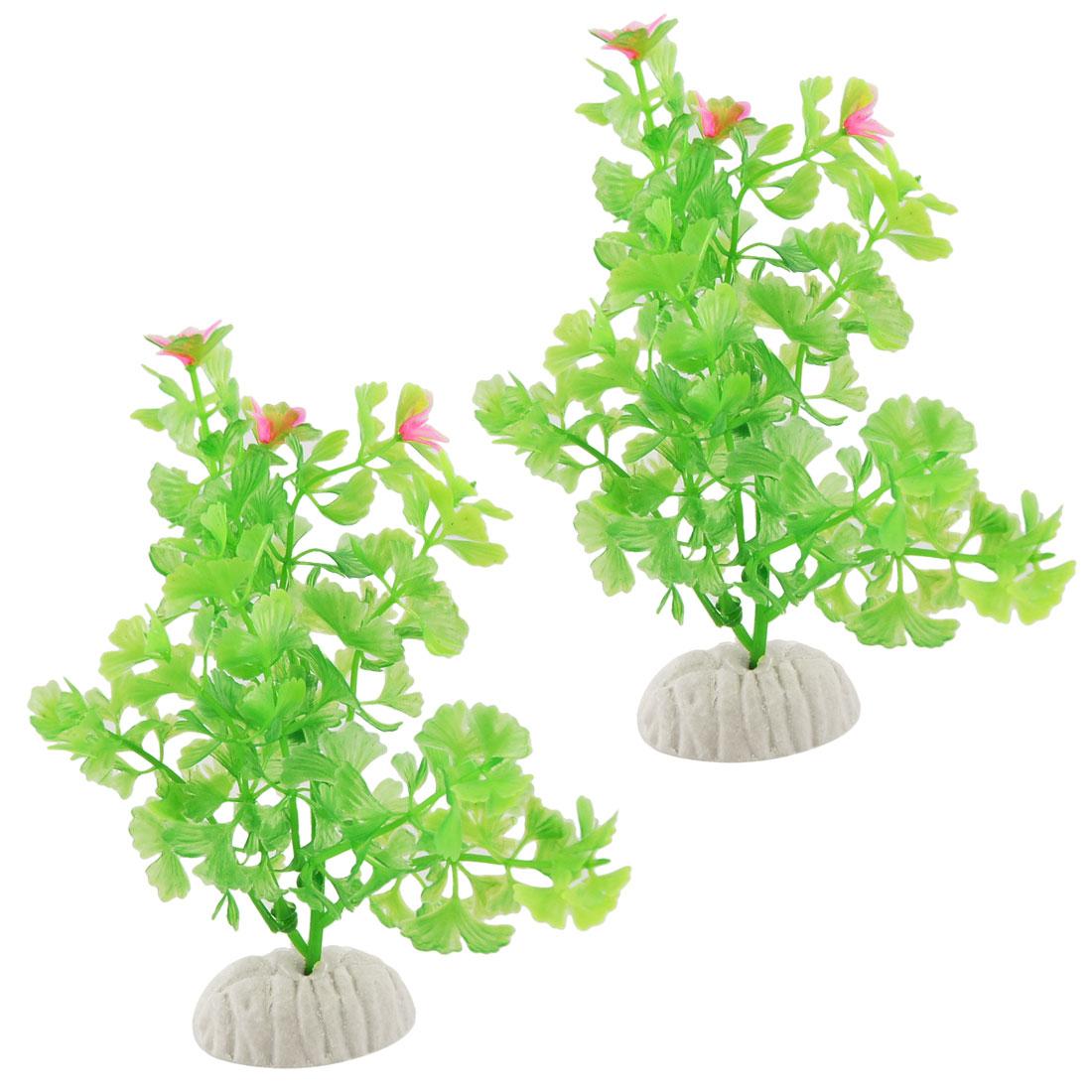 Fish Tank Pink Floral Green Plastic Aquascaping Plant Decor 2 Pcs