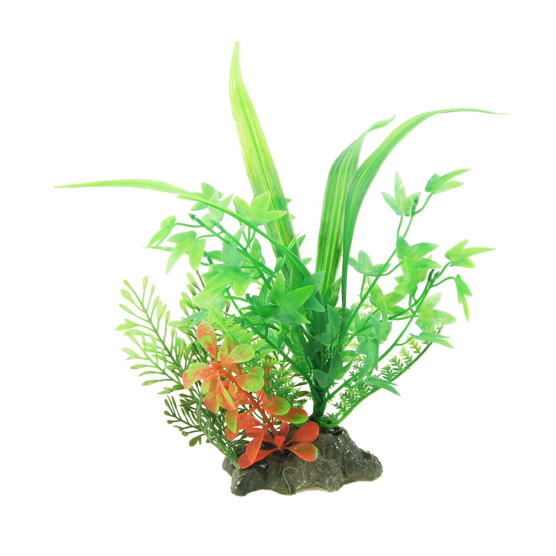 """Fish Tank Green Plastic Plant Grass 9.8"""" Height Ornament"""