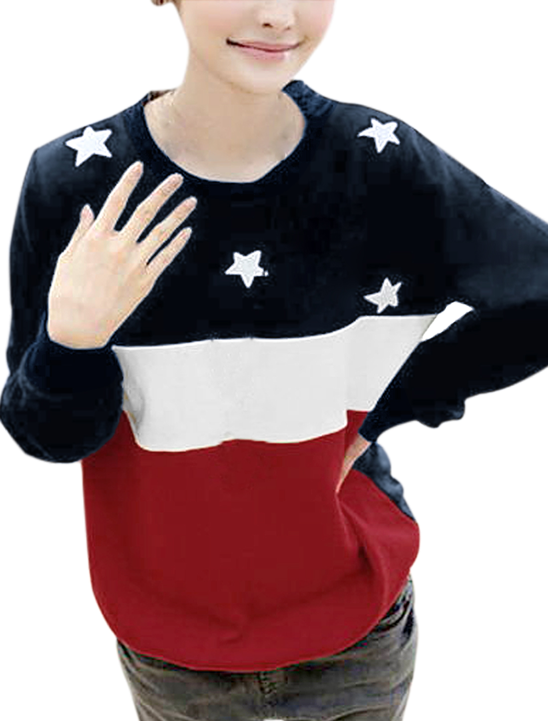 Ladies Red Blue Round Neck Long Sleeve Contrast Colors Star Prints Autumn Shirt XS