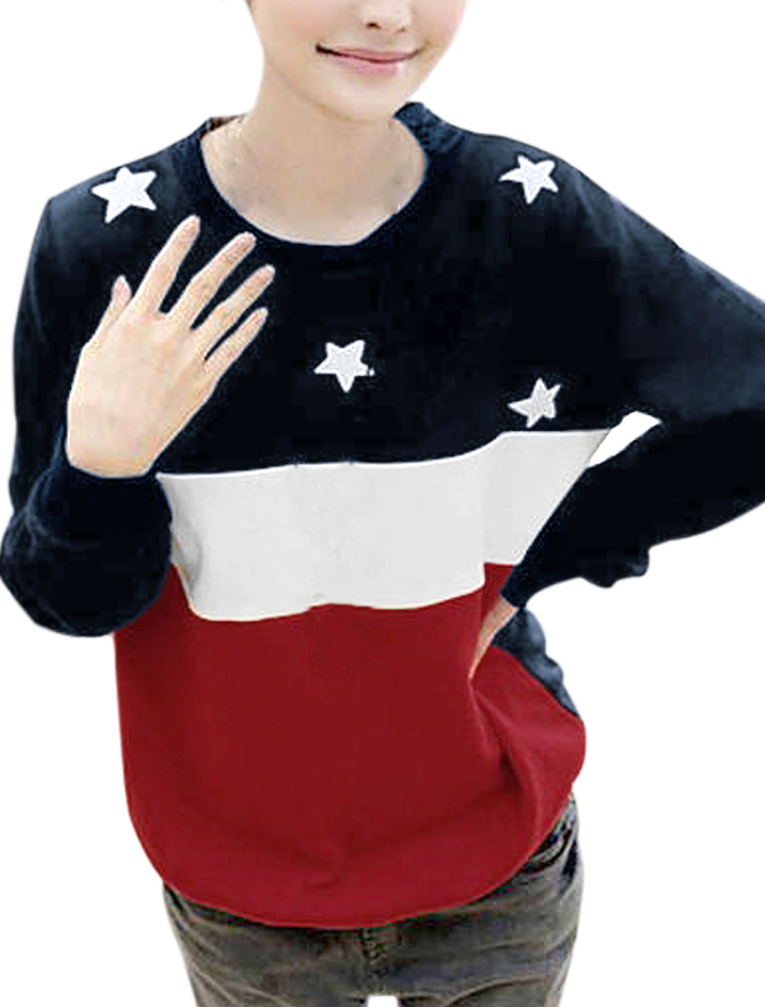 Ladies Casual Round Neck Long Sleeve Textured Vitality Red Blue Autumn Shirt S