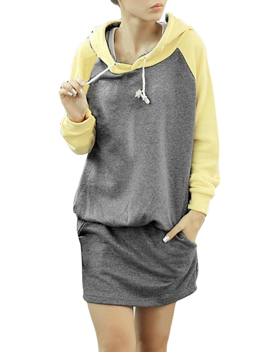 Ladies Long Sleeves Scoop Neck Elastic Waist Slant Pockets Hoody Gray Dress XS